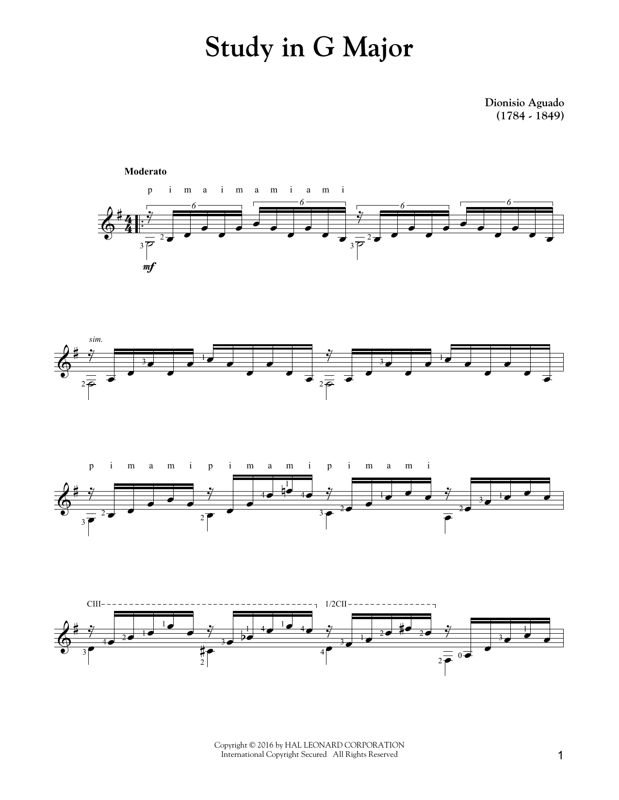 Study In G Major Sheet Music