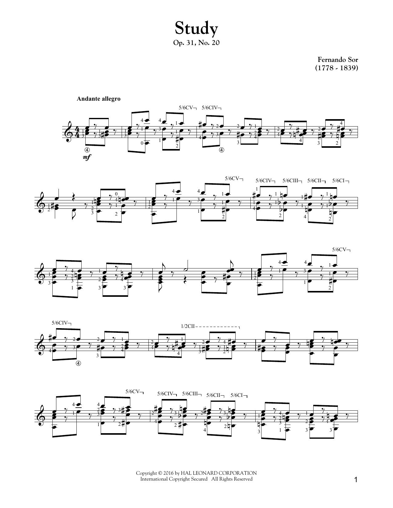 Tablature guitare Study Op. 31, No. 20 de Fernando Sor - Tablature Guitare