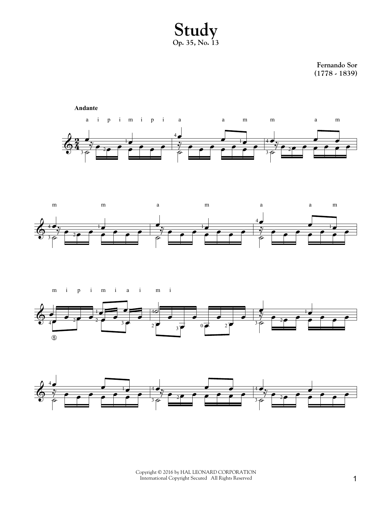 Tablature guitare Study Op. 35, No. 13 de Fernando Sor - Tablature Guitare