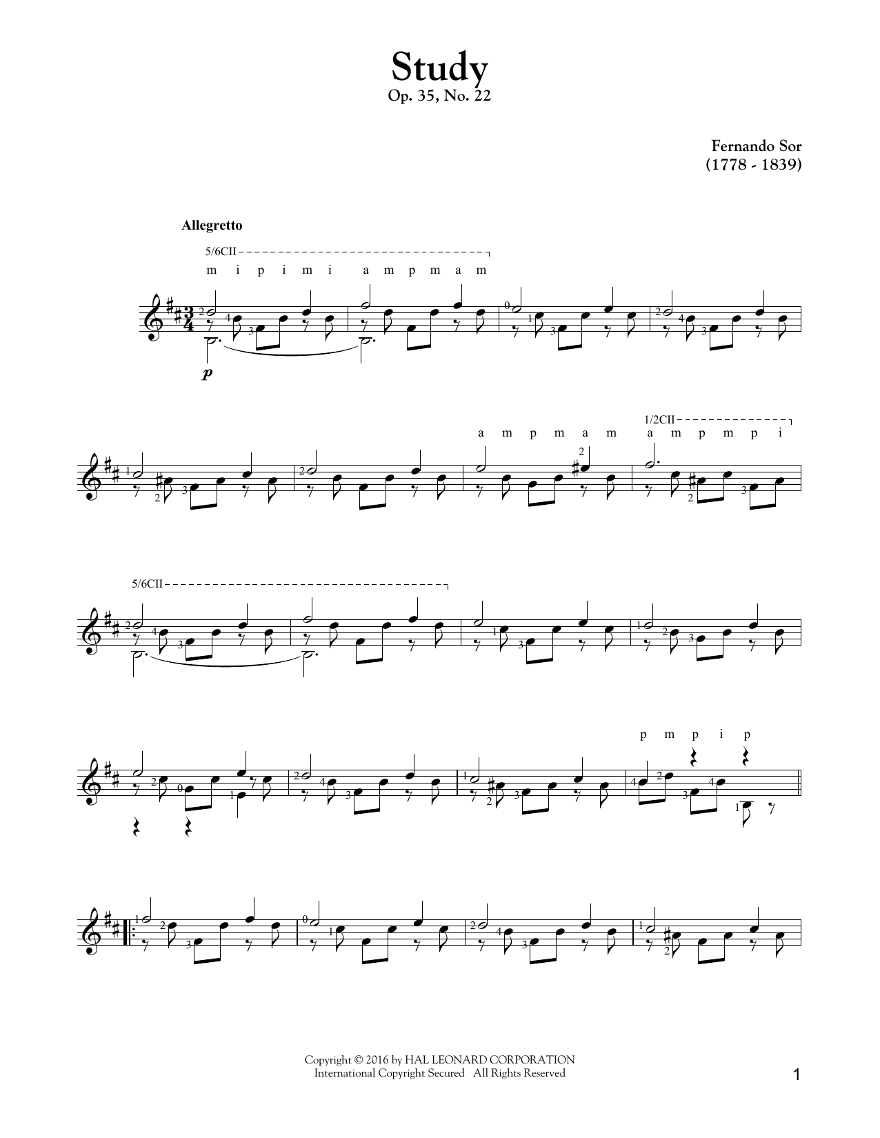 Study Op. 35, No. 22 Sheet Music