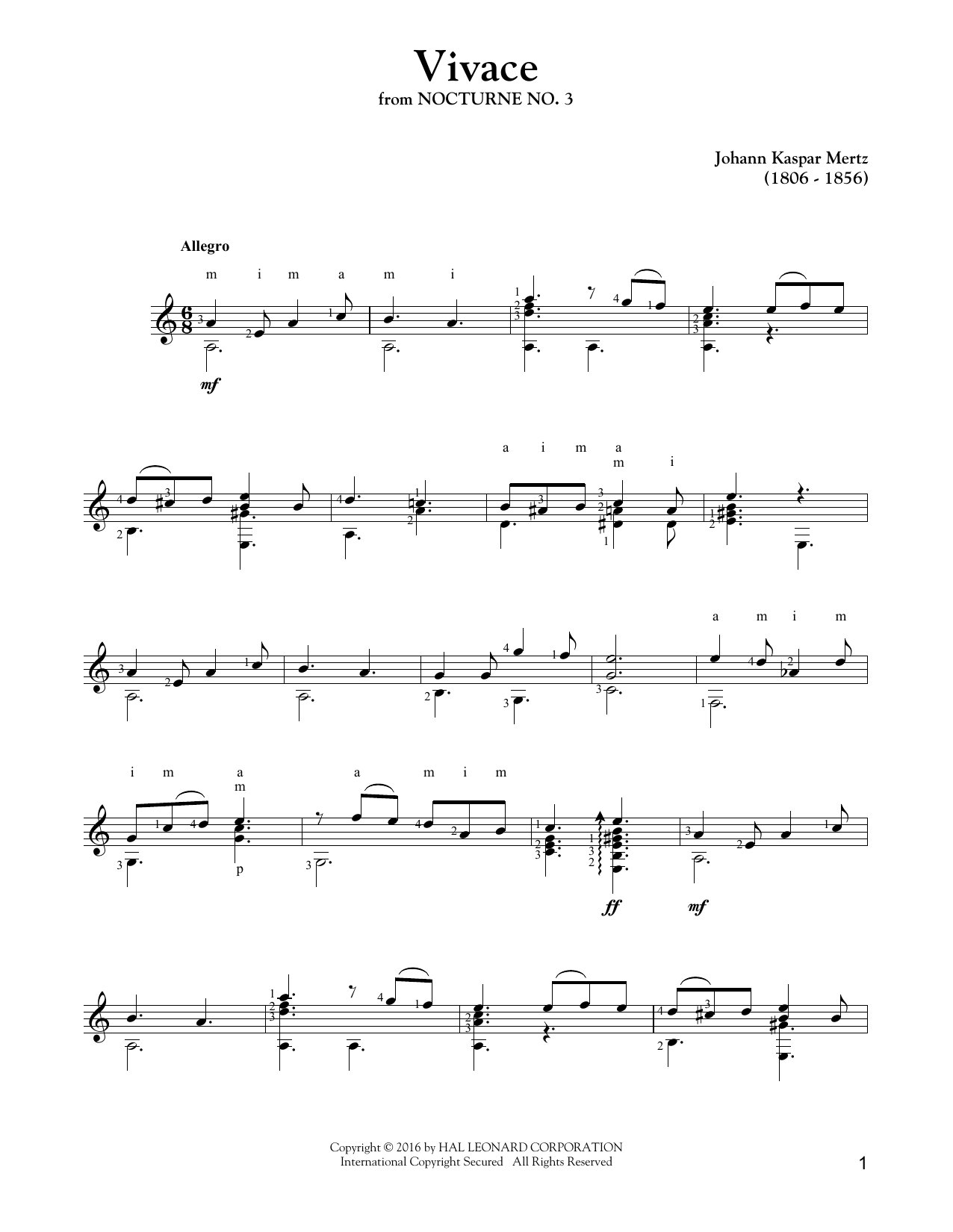 Vivace Sheet Music