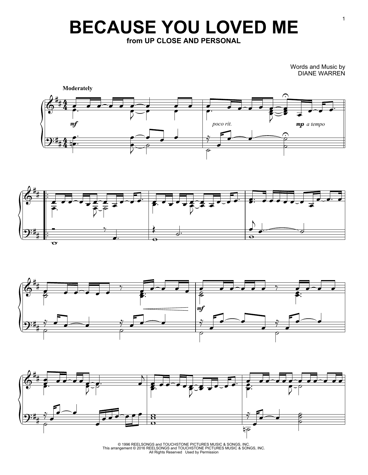 Partition piano Because You Loved Me de Diane Warren - Piano Solo