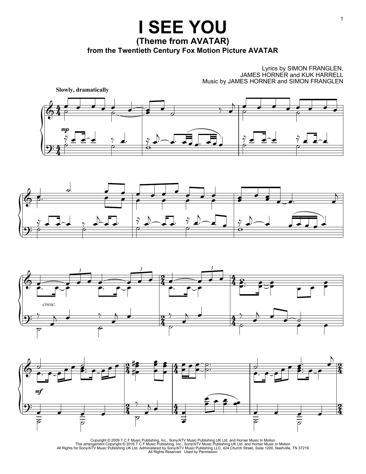 page one of I See You (Theme From Avatar)ASALTTEXT