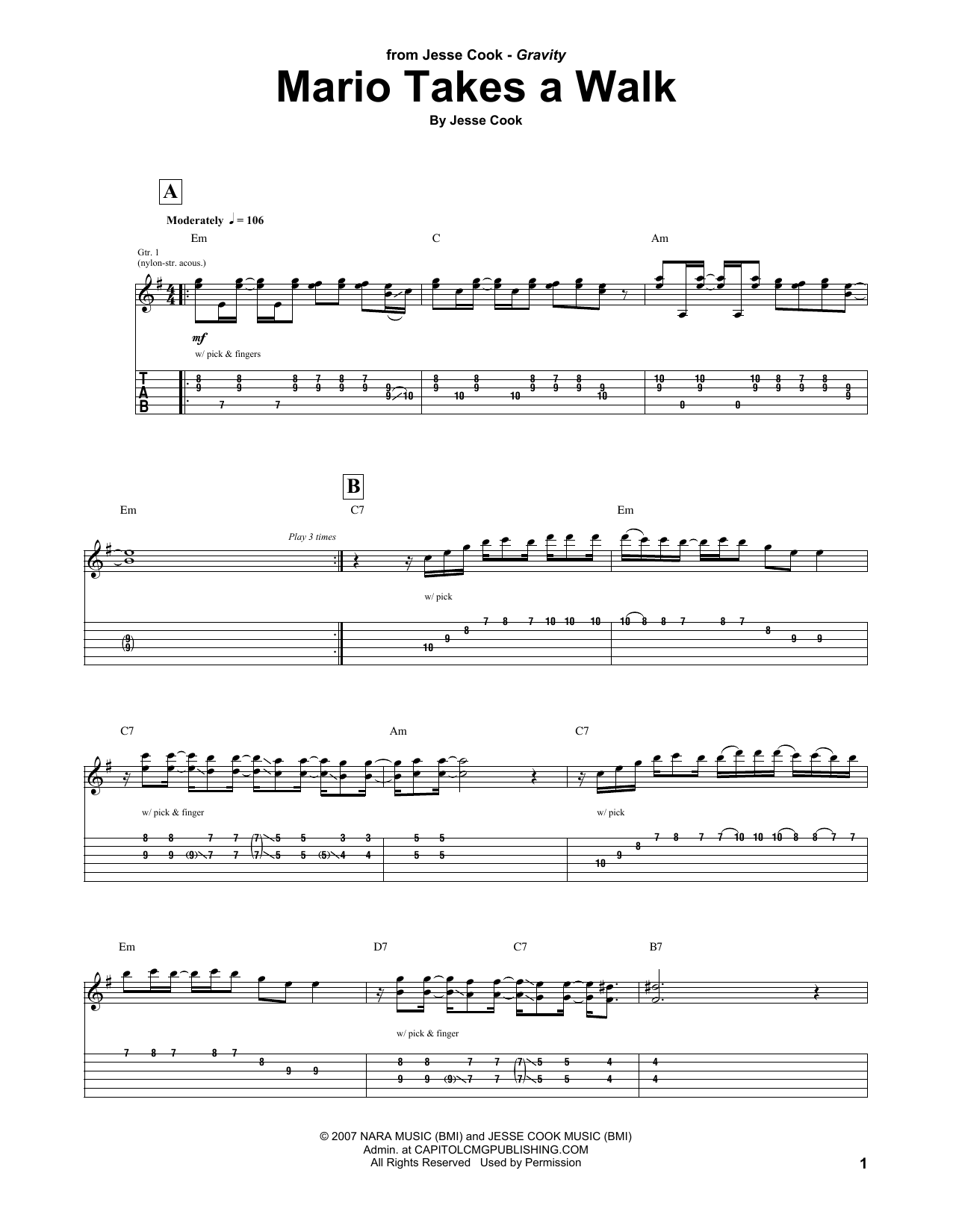 Tablature guitare Mario Takes A Walk de Jesse Cook - Tablature Guitare