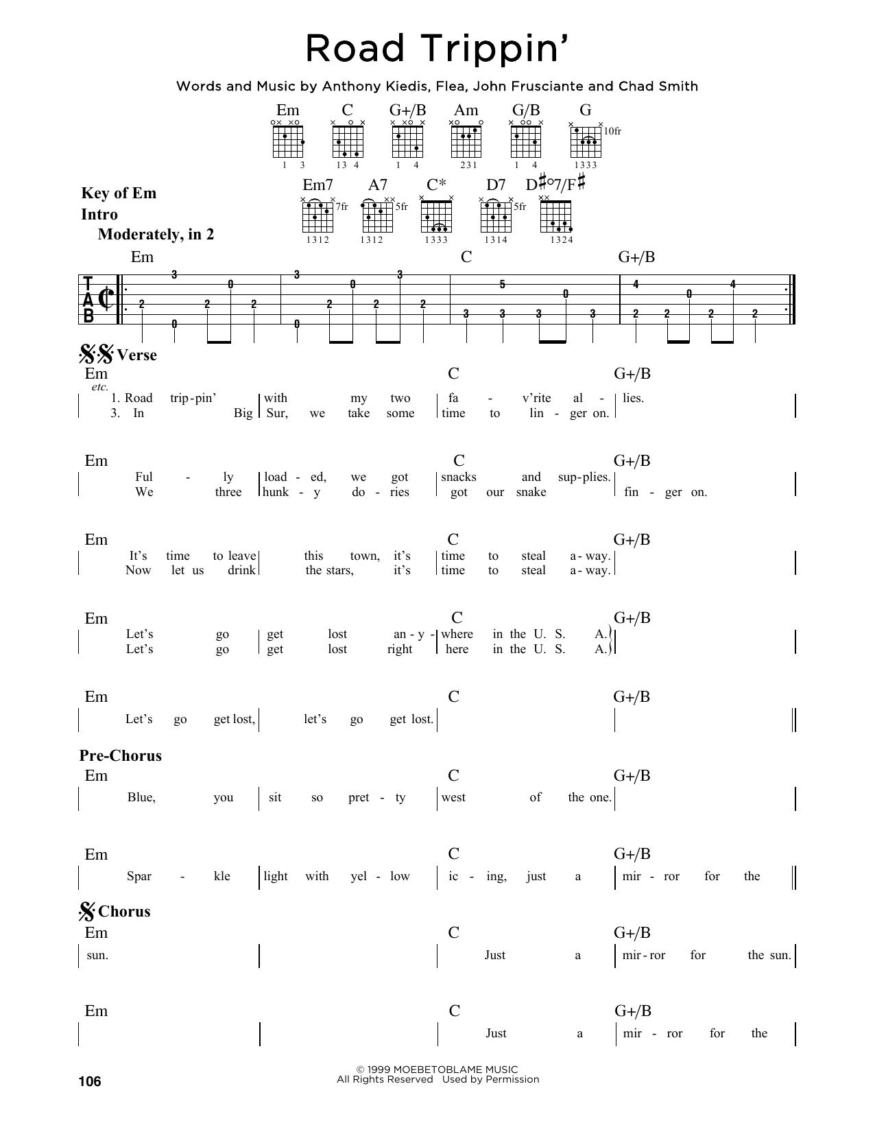 Tablature guitare Road Trippin' de Red Hot Chili Peppers - Tablature Guitare Lead