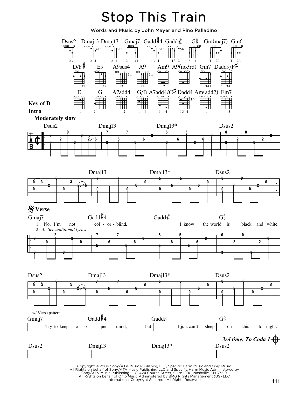 Tablature guitare Stop This Train de John Mayer - Tablature Guitare Lead