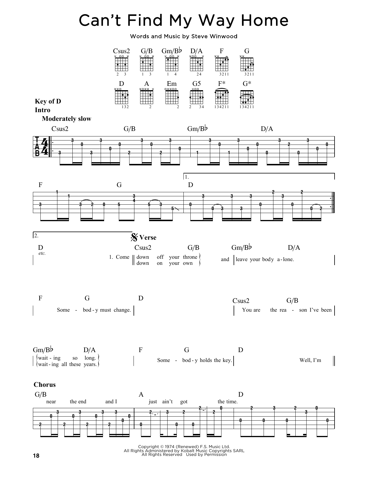 Tablature guitare Can't Find My Way Home de Eric Clapton - Tablature Guitare Lead