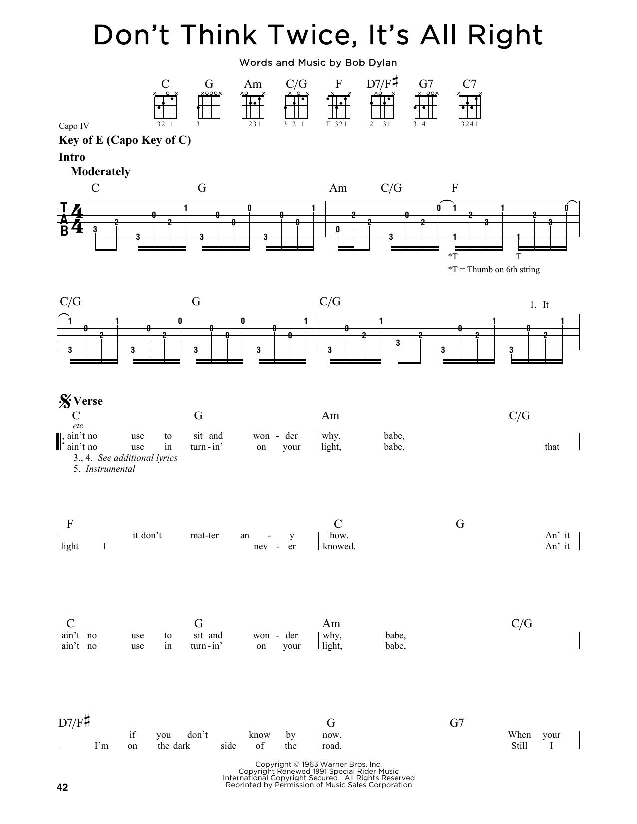 Tablature guitare Don't Think Twice, It's All Right de Bob Dylan - Tablature Guitare Lead