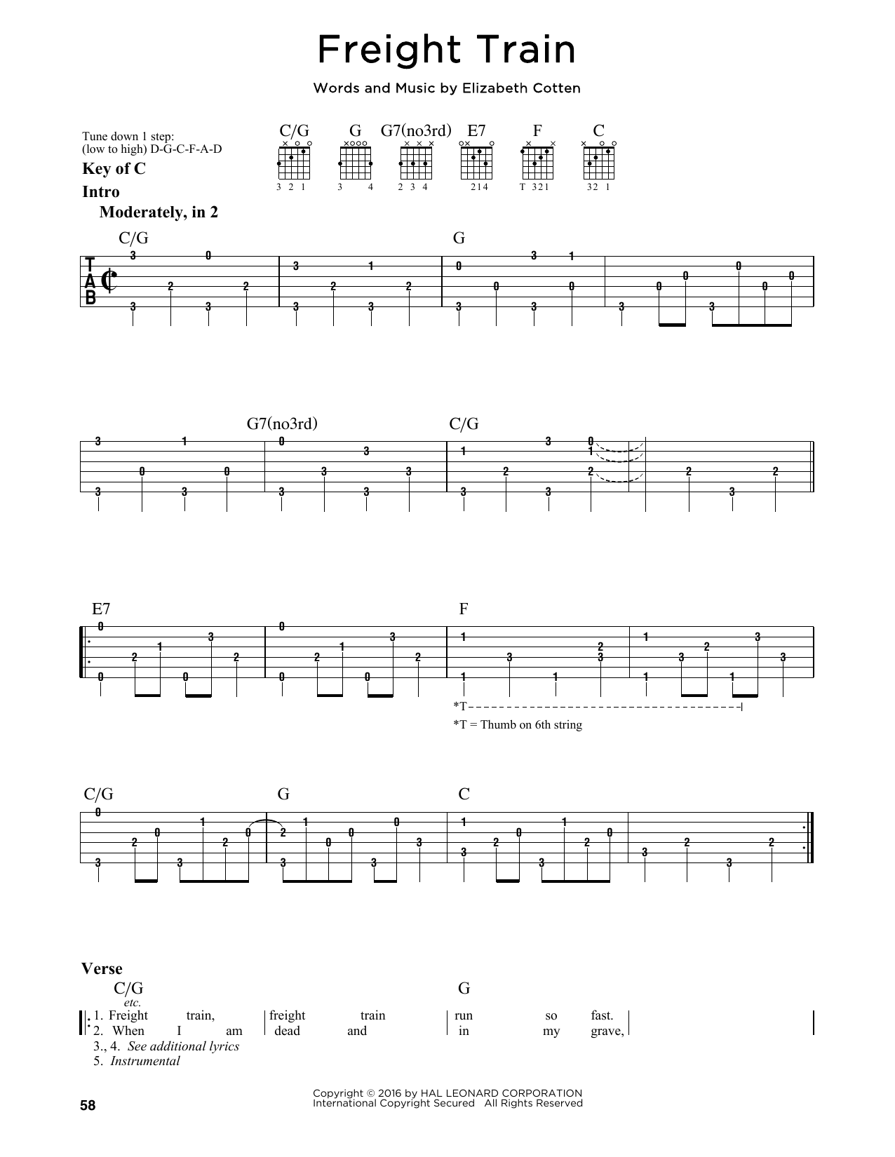 Tablature guitare Freight Train de Elizabeth Cotten - Tablature Guitare Lead