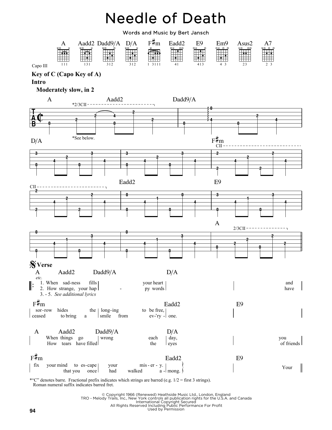 Needle Of Death Sheet Music