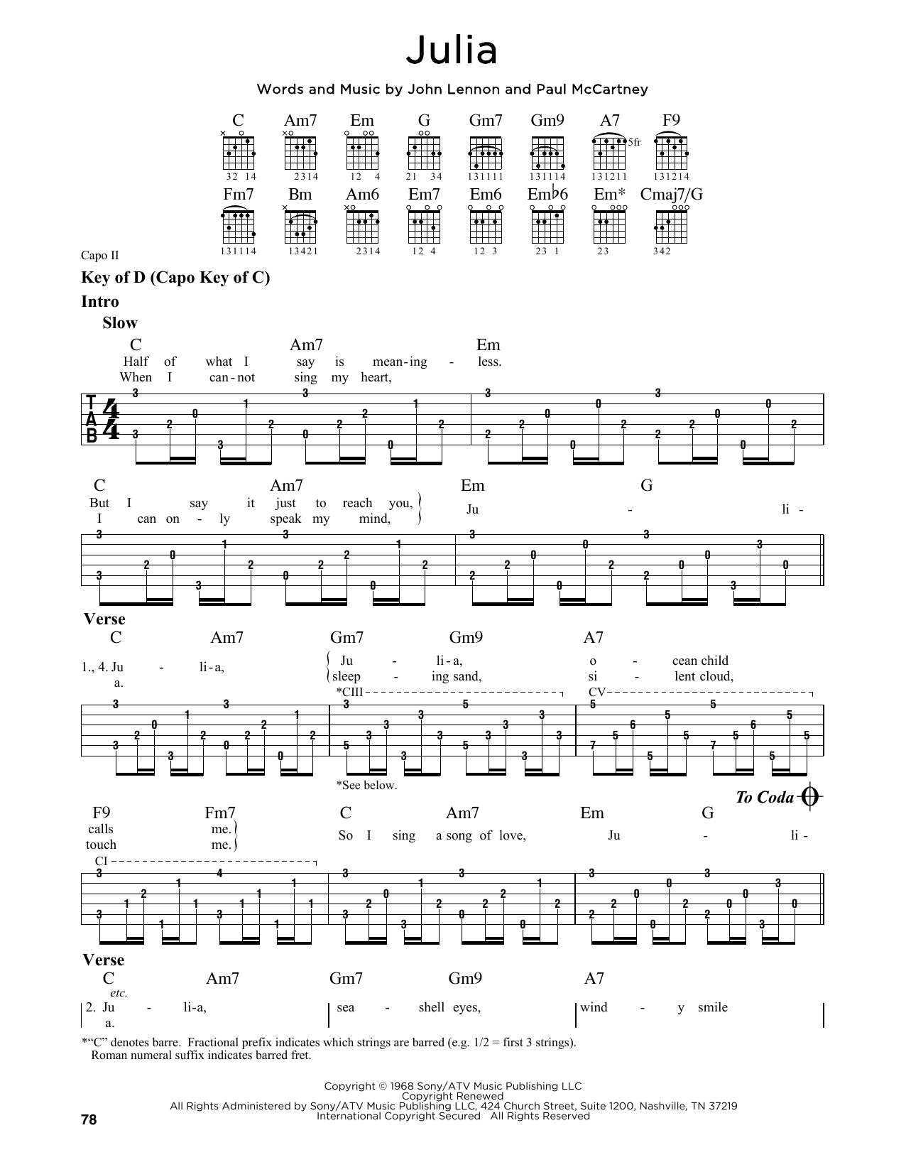 Partition autre Julia de The Beatles - Tablature Guitare Lead