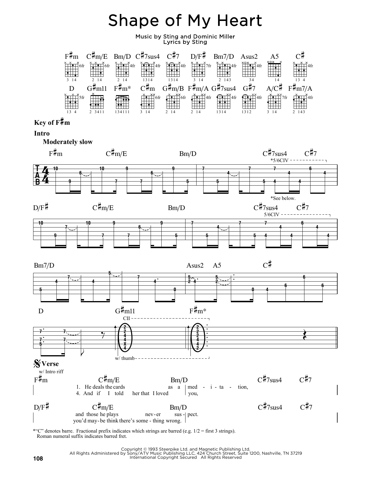 Shape Of My Heart (Guitar Lead Sheet)
