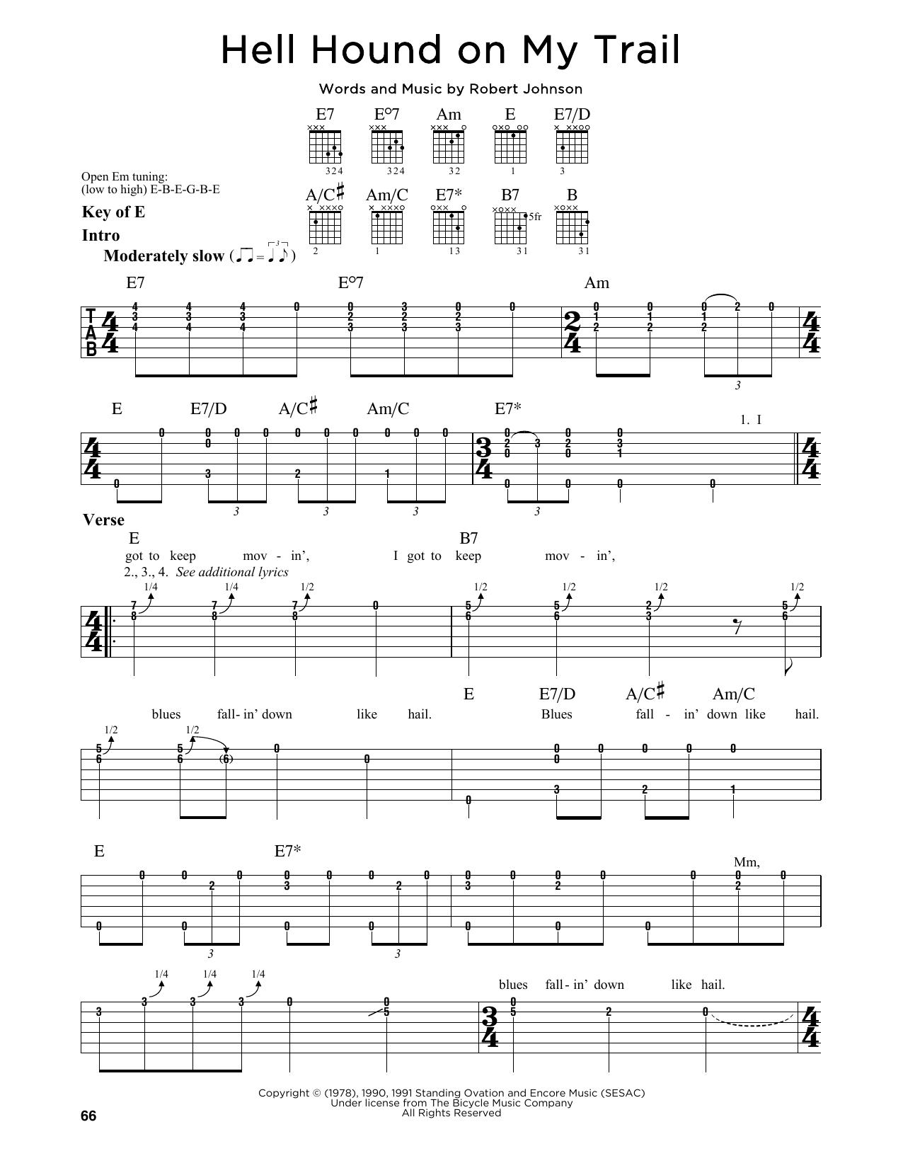 Tablature guitare Hell Hound On My Trail de Robert Johnson - Tablature Guitare Lead