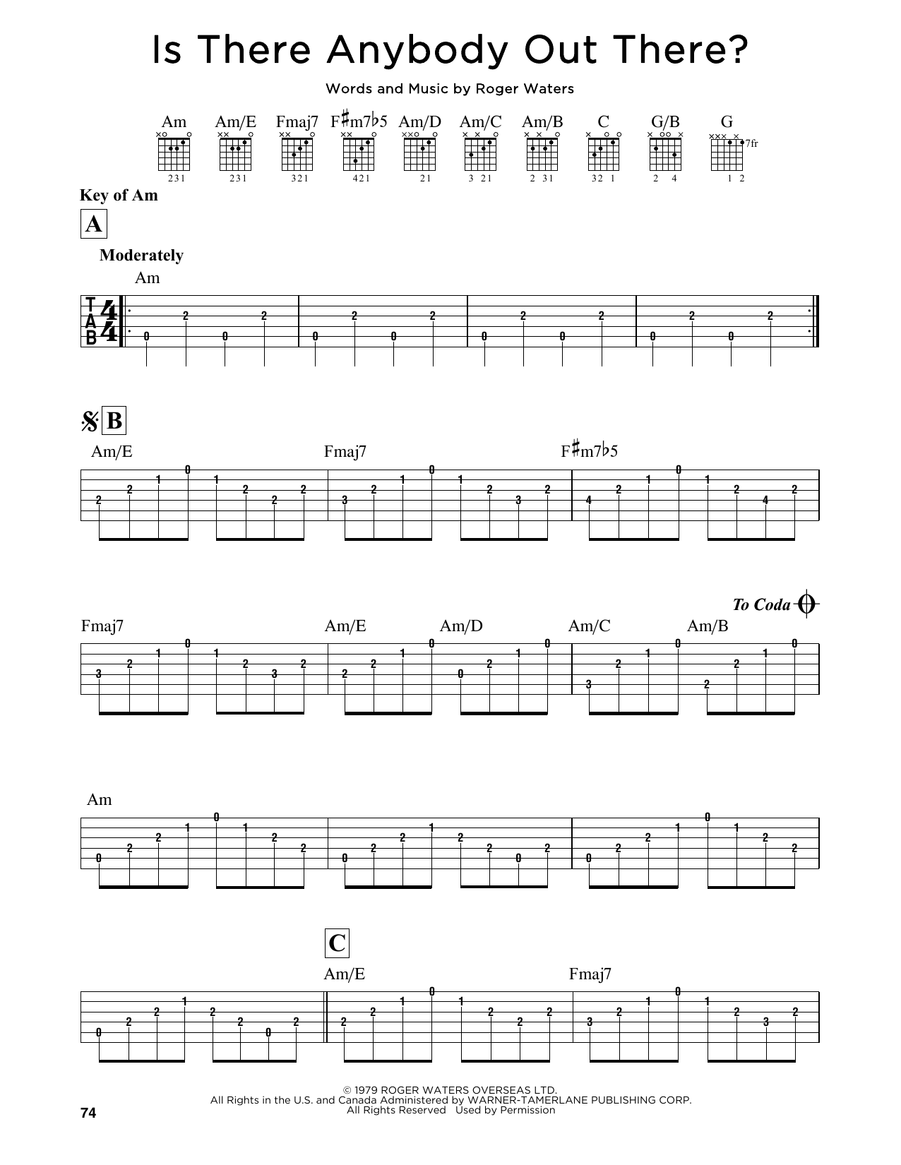 Is there anybody out guitar tab
