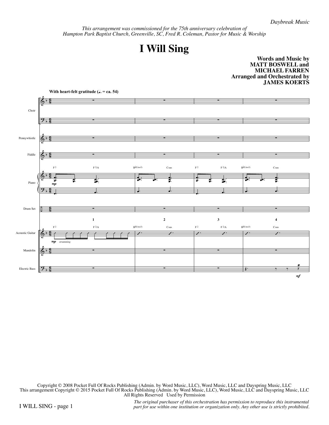 I Will Sing - Full Score (Choir Instrumental Pak)