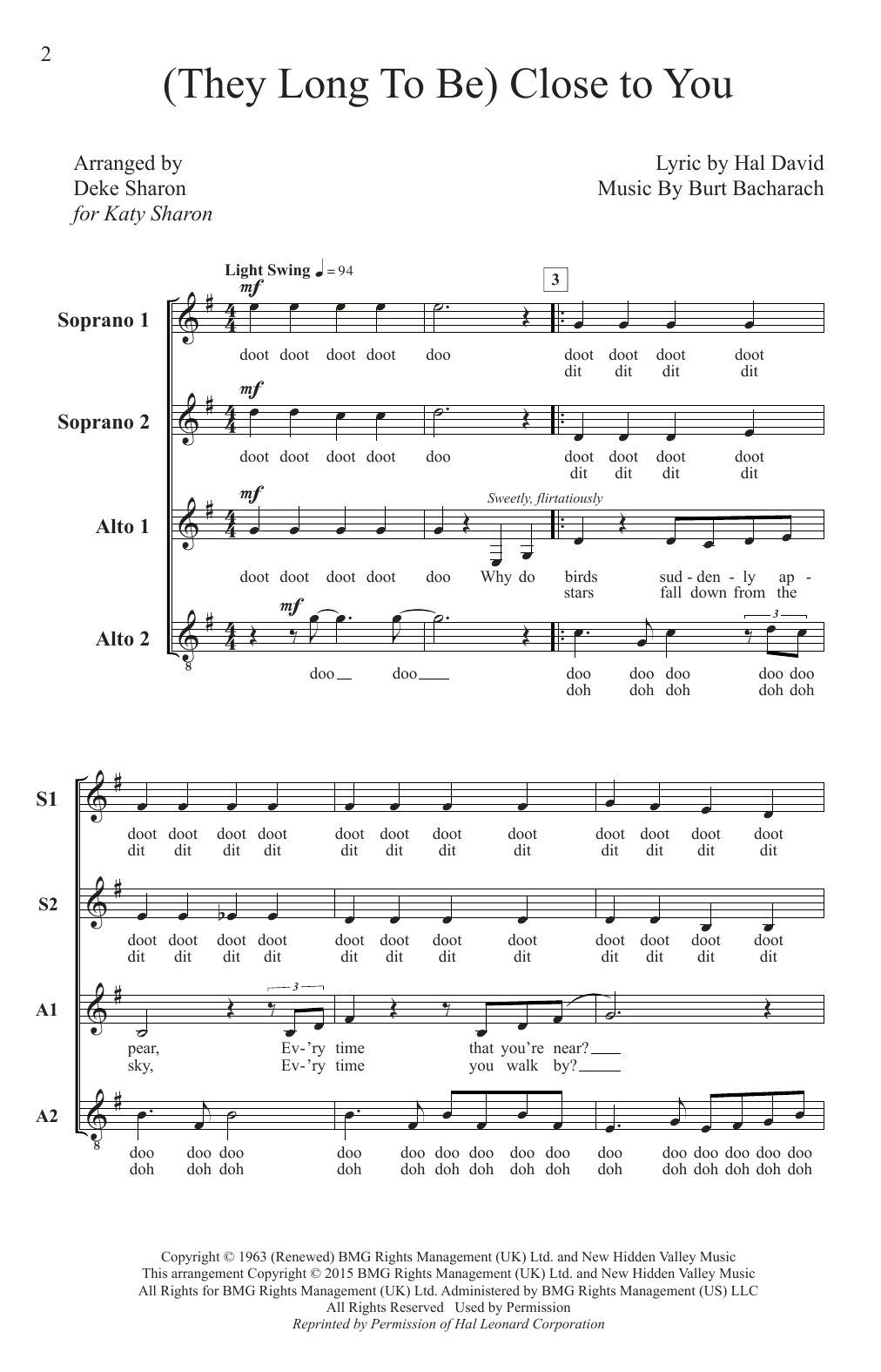 (They Long To Be) Close To You (arr. Deke Sharon) Sheet Music