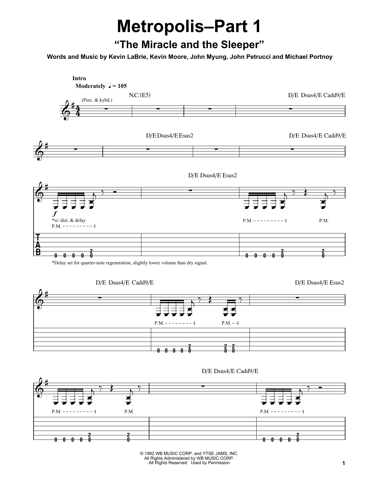 "Metropolis-Part 1 ""The Miracle And The Sleeper"" Sheet Music"