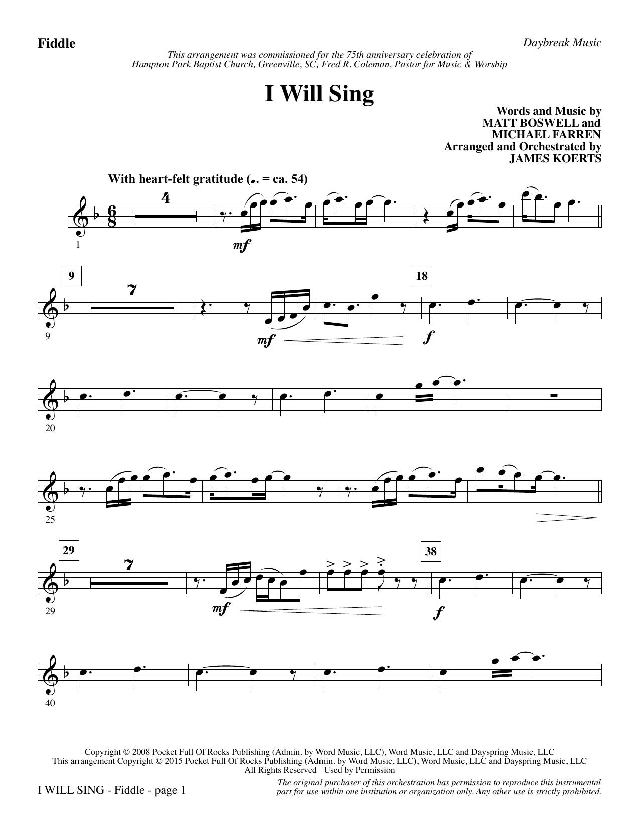 I Will Sing - Fiddle/Violin (Choir Instrumental Pak)