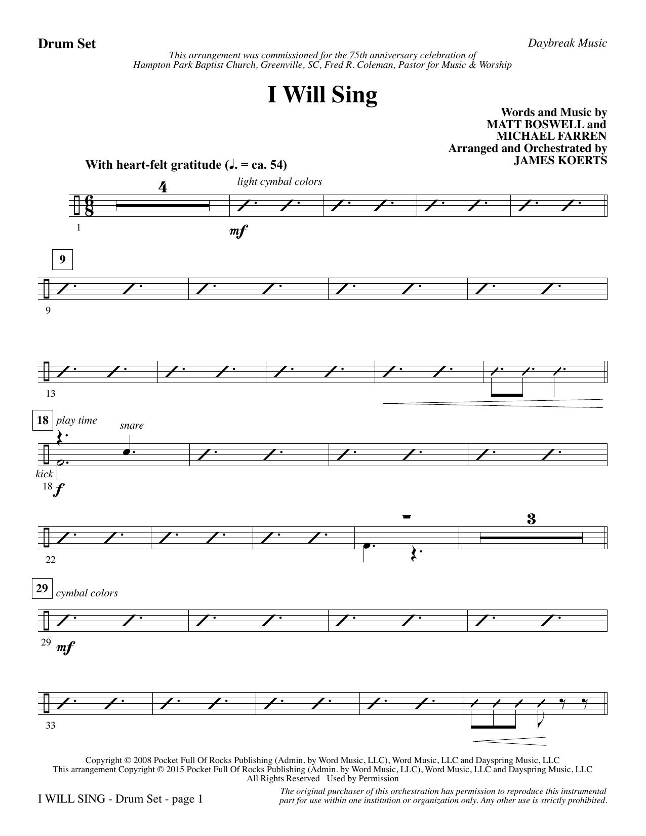 I Will Sing - Drums (Choir Instrumental Pak)