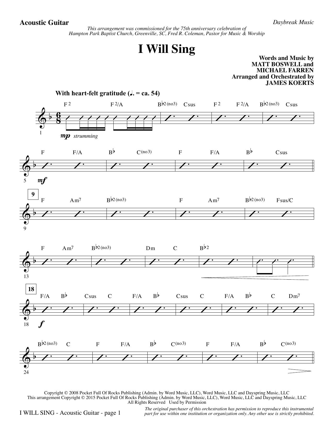I Will Sing - Acoustic Guitar (Choir Instrumental Pak)