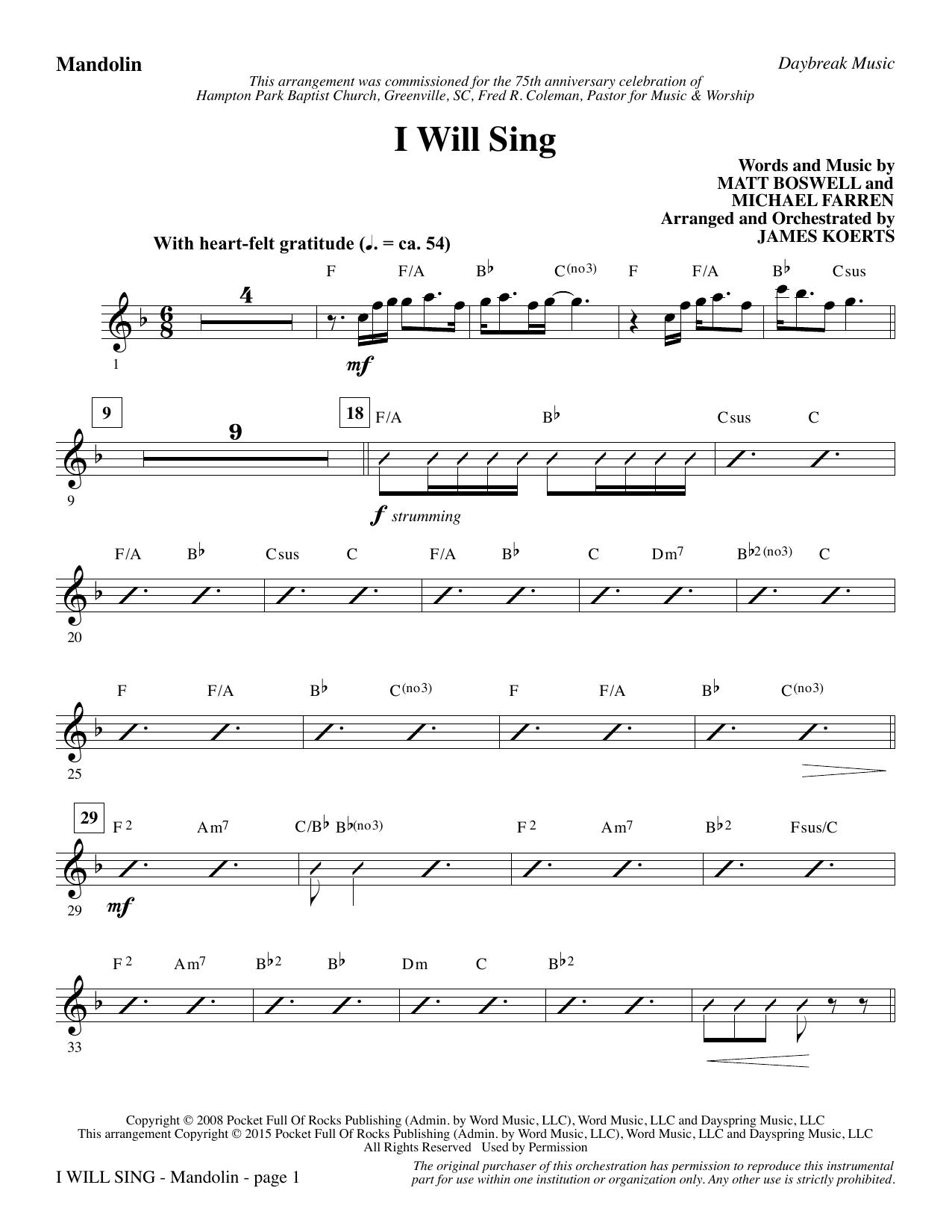 I Will Sing - Mandolin (Choir Instrumental Pak)