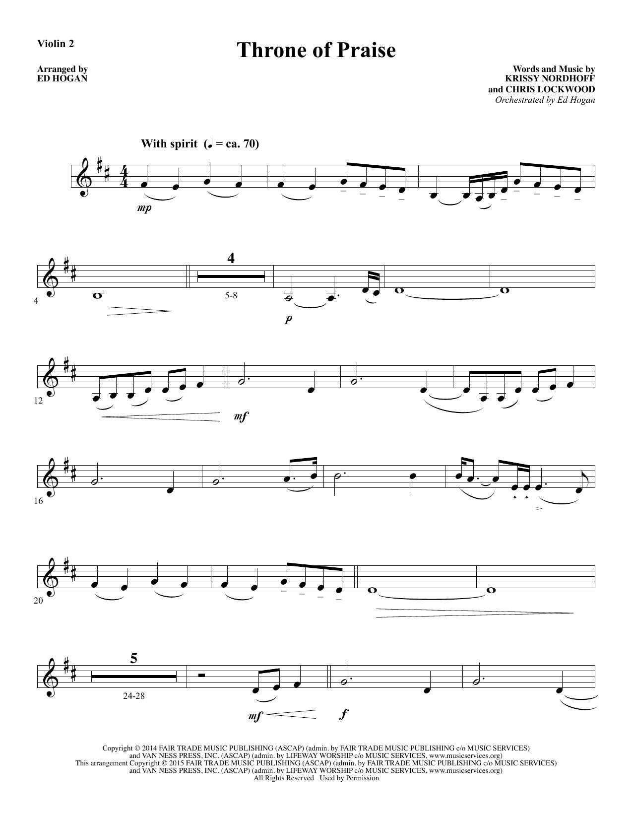 Throne of Praise - Violin 2 (Choir Instrumental Pak)