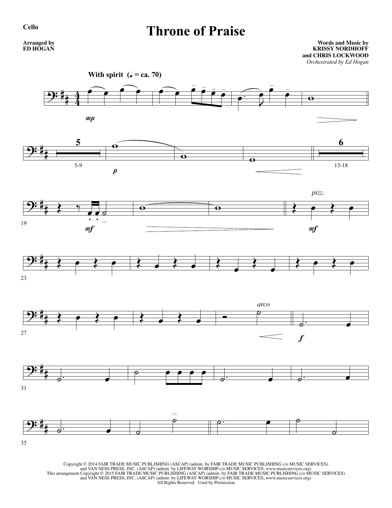 Throne of Praise - Cello Sheet Music