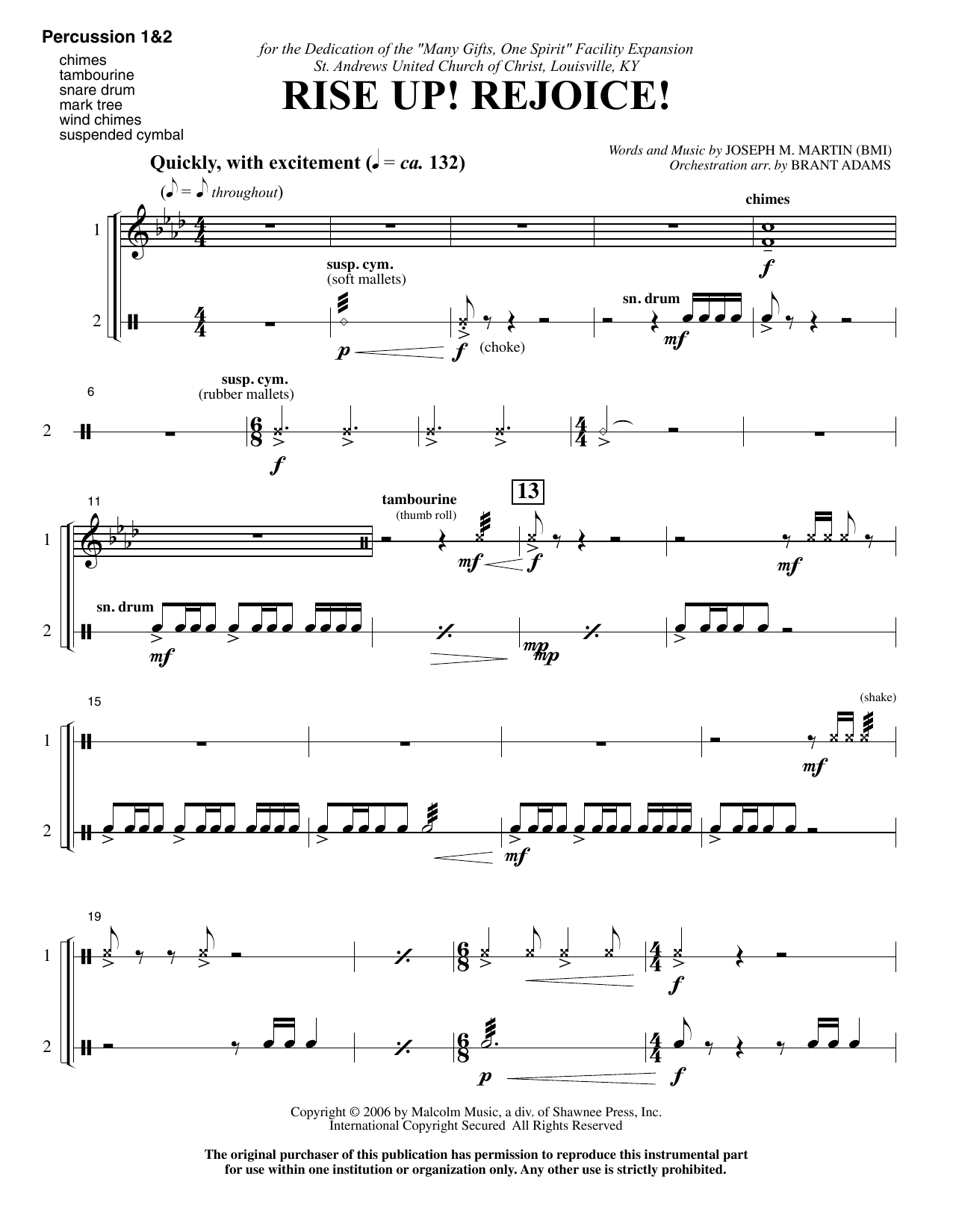 Rise Up! Rejoice! (from Footprints In The Sand) - Percussion 1 & 2 (Choir Instrumental Pak)
