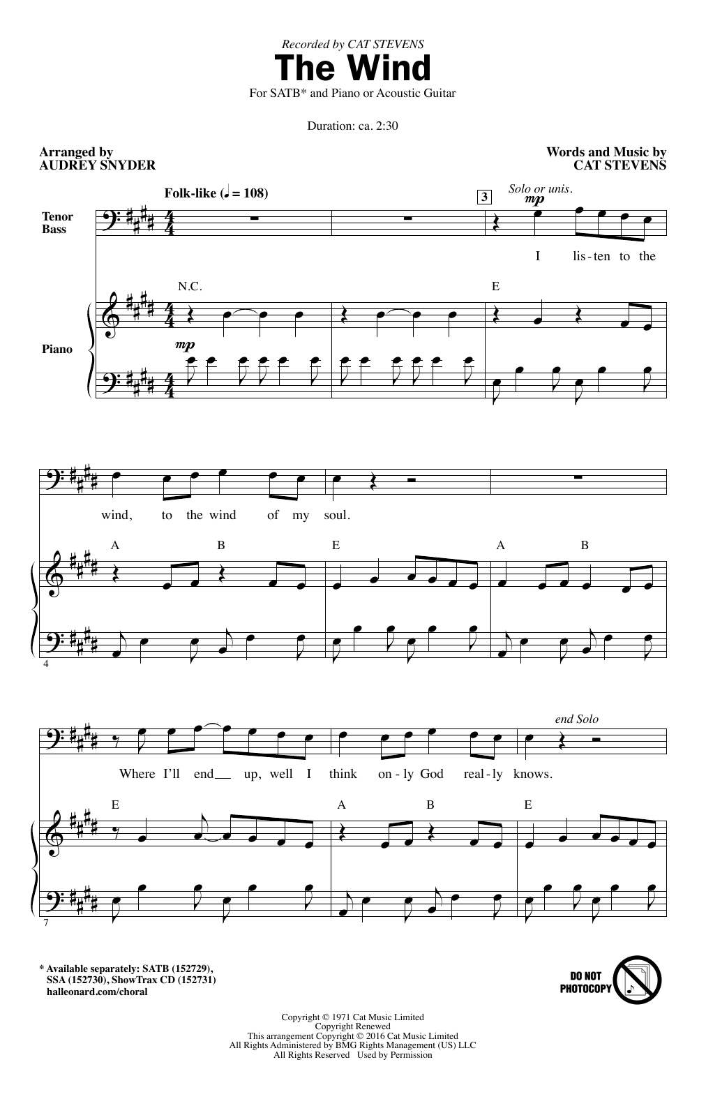 Partition chorale The Wind de Cat Stevens - SATB