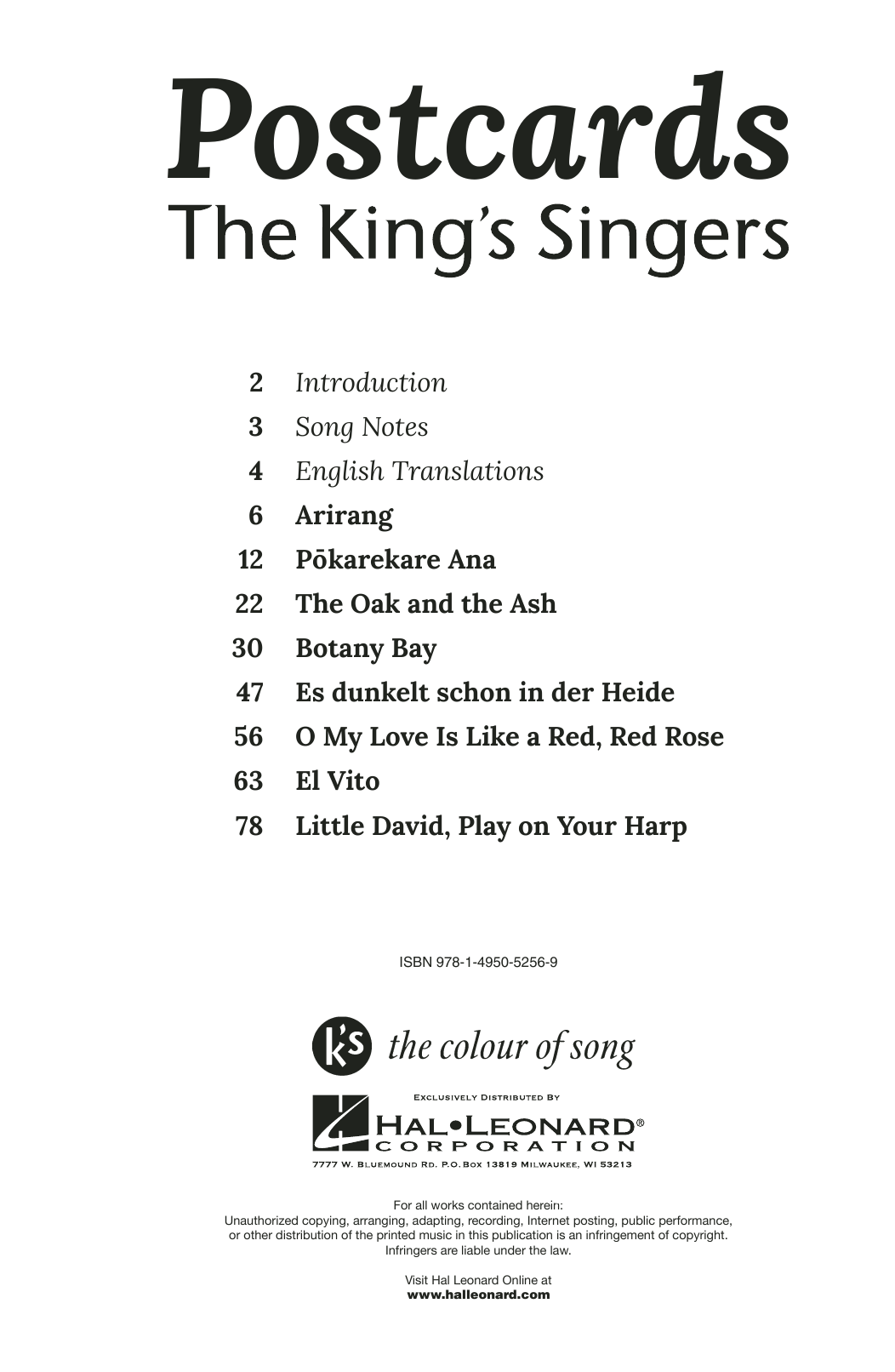 Partition chorale O My Love Is Like A Red, Red Rose de The King's Singers - SATB