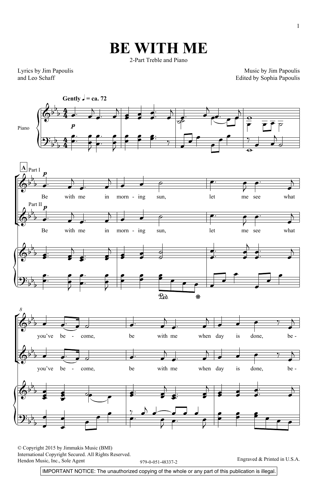 Be With Me Sheet Music