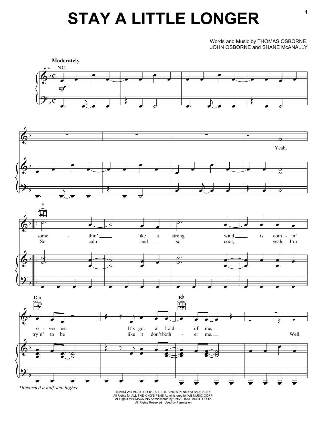 Stay A Little Longer Sheet Music