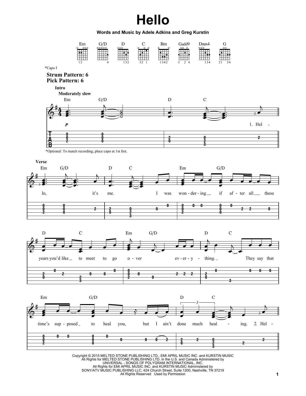 Connu Hello partition par Adele (Tablature Guitare Facile – 163618) YE55