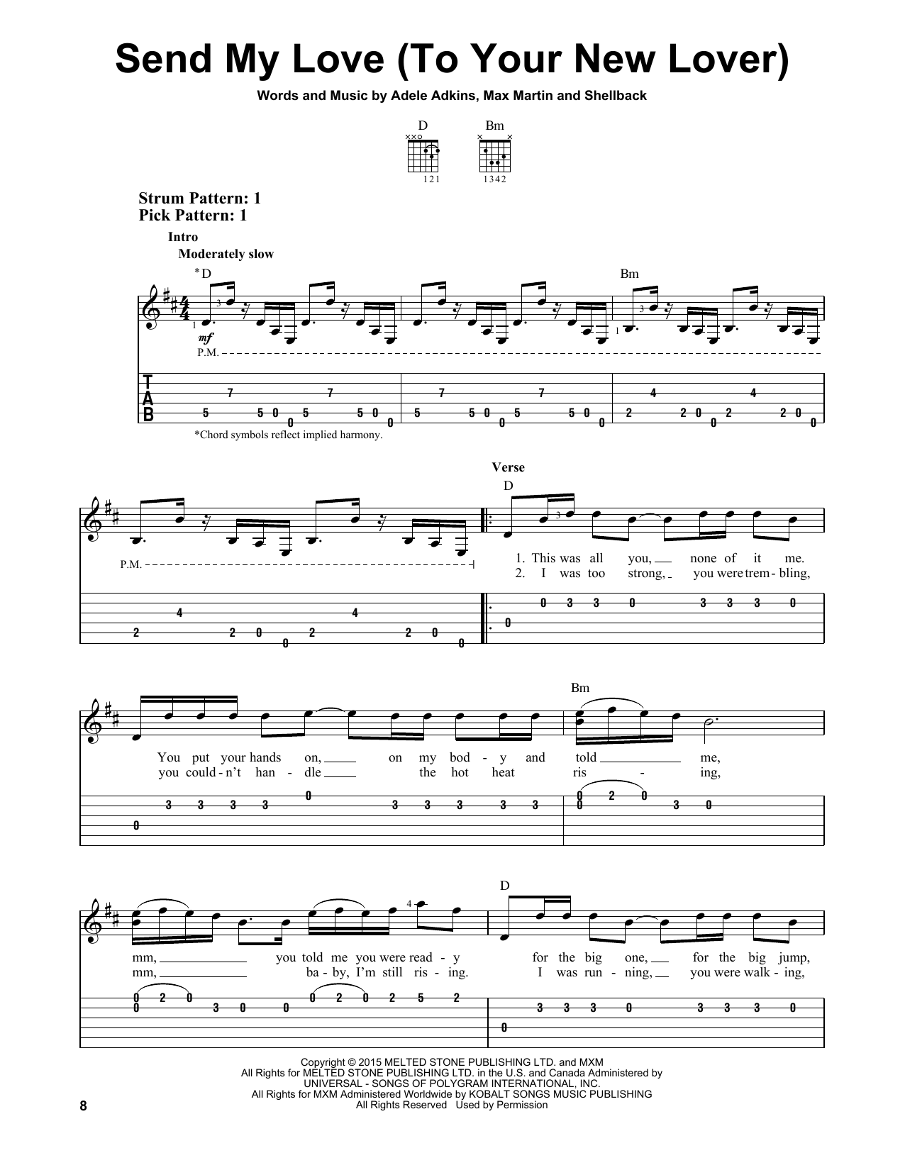 Send My Love To Your New Lover By Adele Easy Guitar Tab Guitar