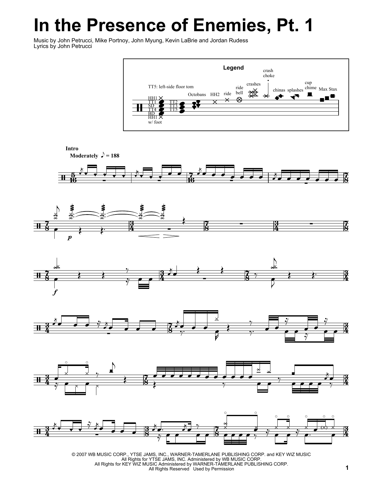 In The Presence Of Enemies - Part 1 (Drums Transcription)
