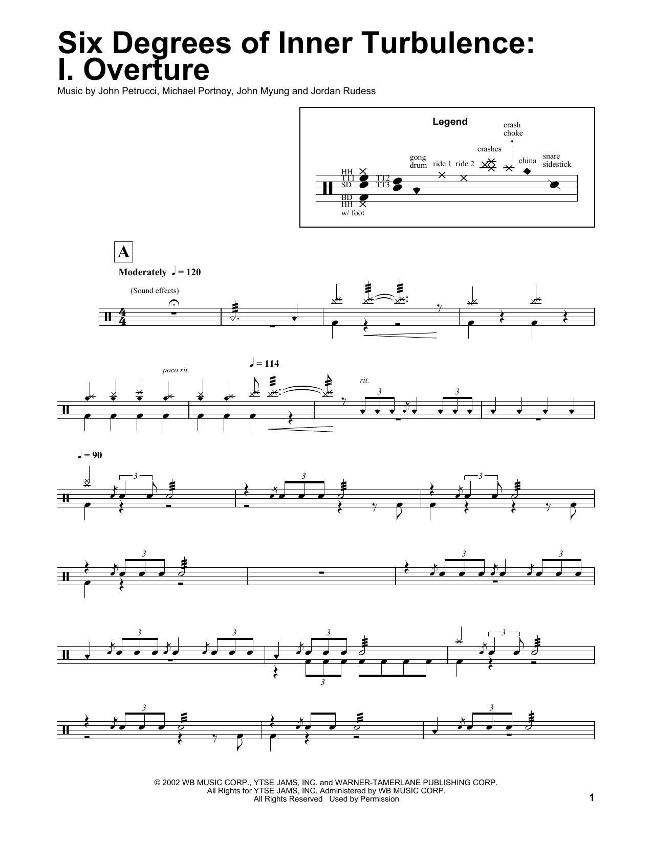 Six Degrees Of Inner Turbulence: I. Overture (Drums Transcription)