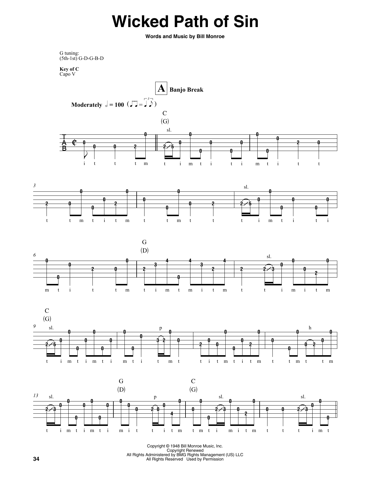 Wicked Path Of Sin (Banjo Tab)