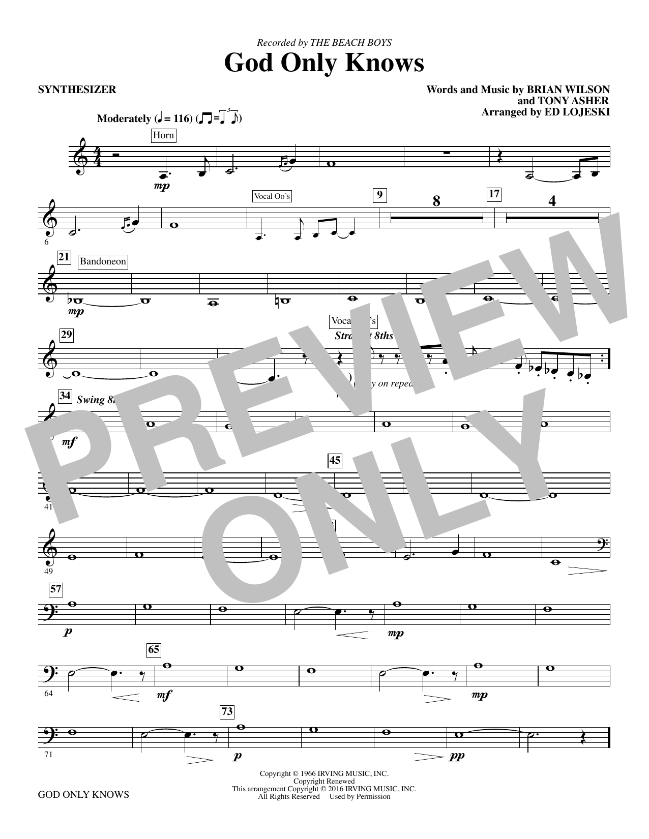 God Only Knows (complete set of parts) sheet music for orchestra/band by The Beach Boys, Brian Wilson and Ed Lojeski. Score Image Preview.