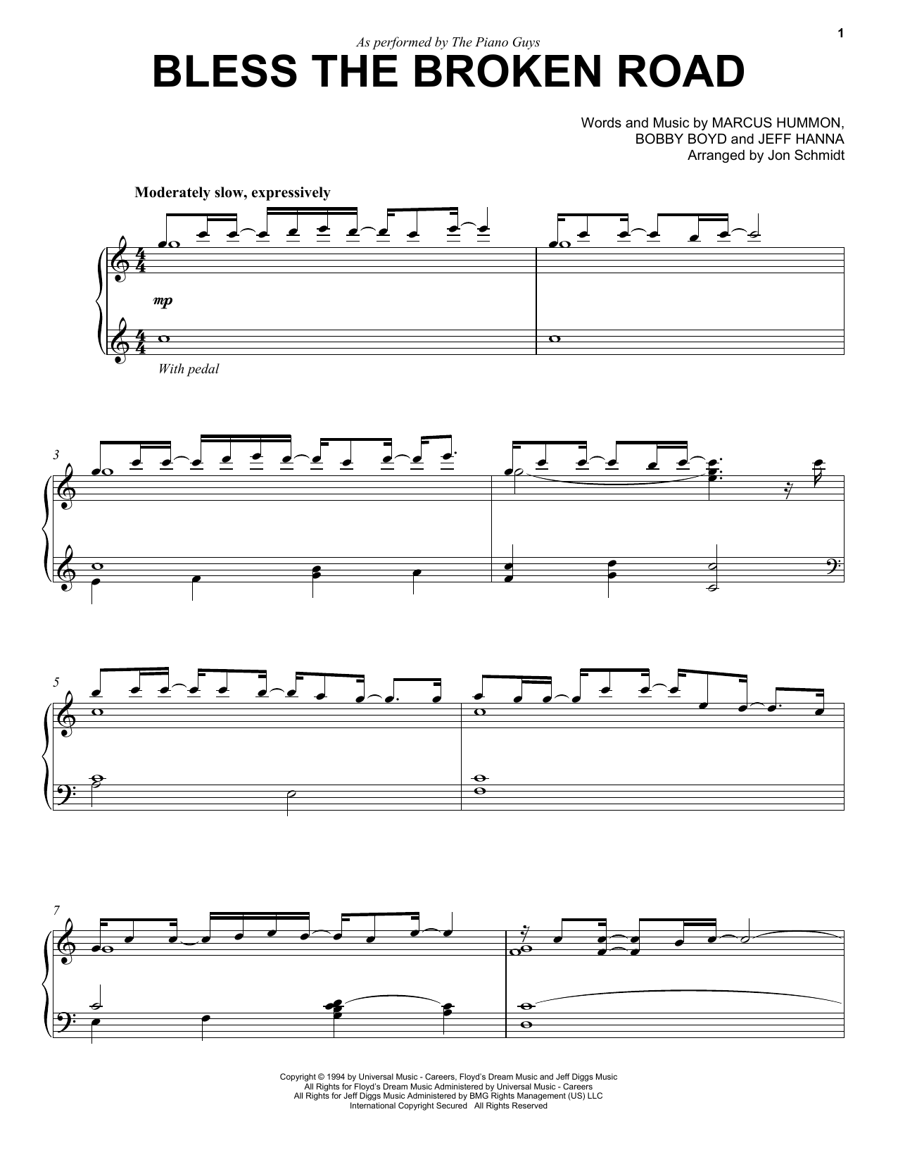 Partition piano Bless The Broken Road de The Piano Guys - Piano Solo