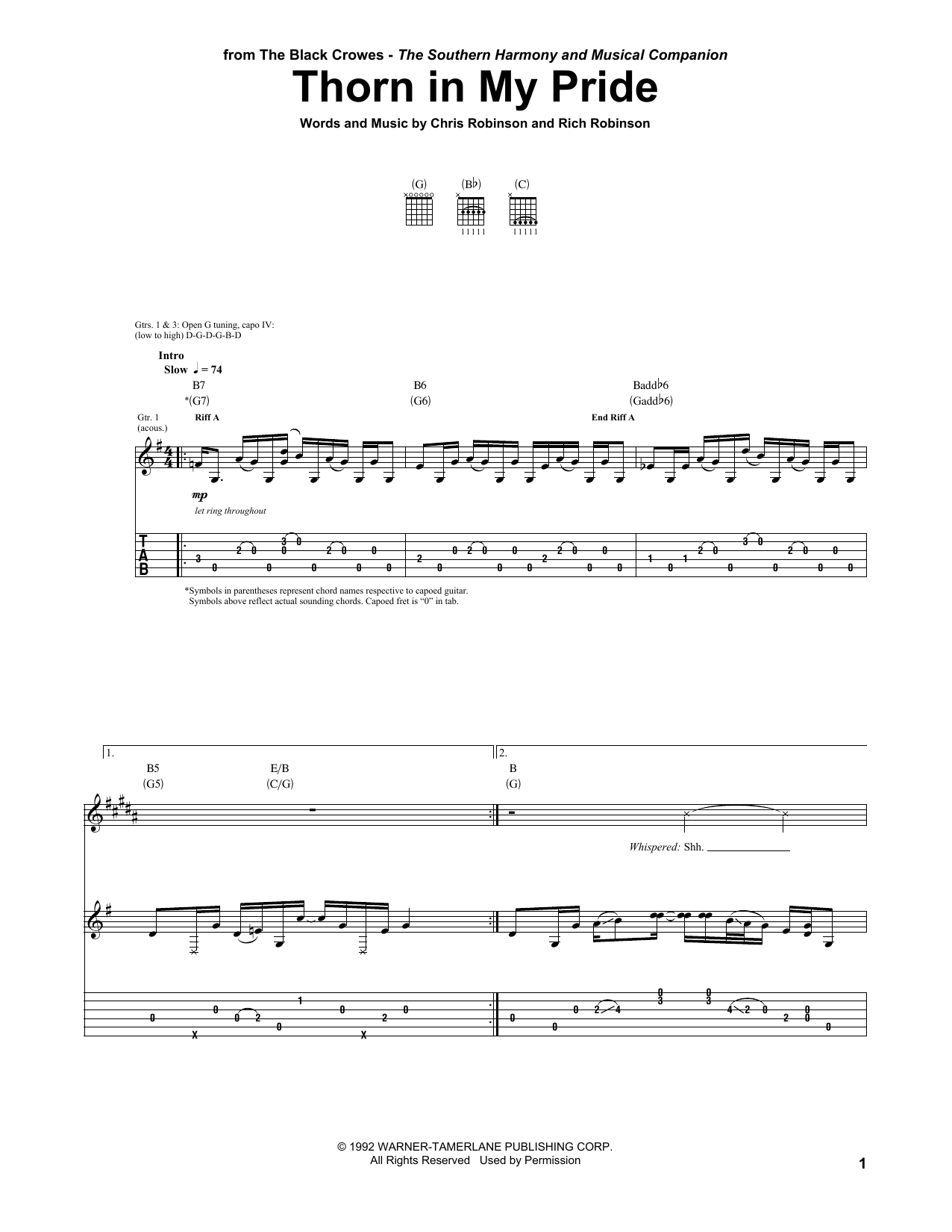 Thorn In My Pride Sheet Music