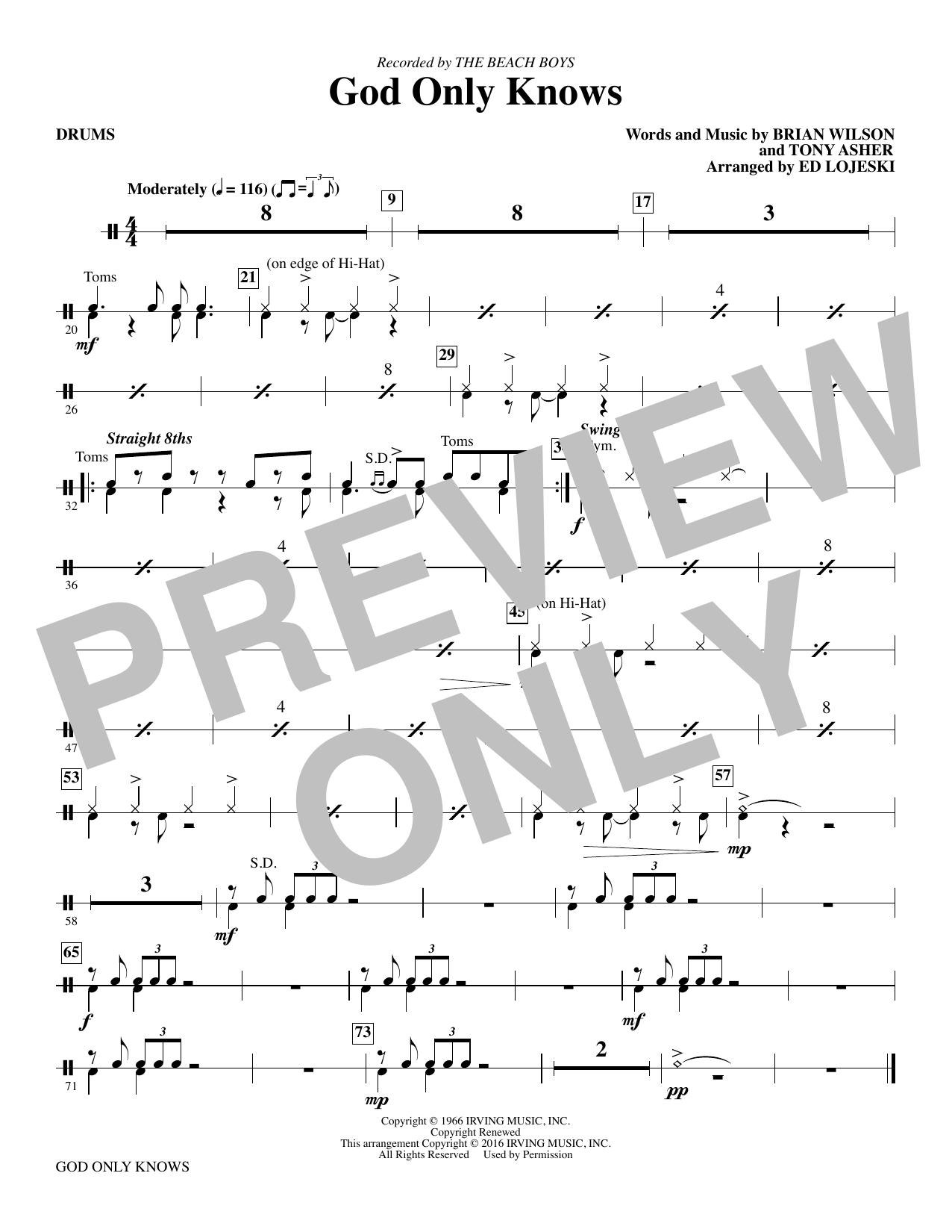 God Only Knows - Drums (Choir Instrumental Pak)