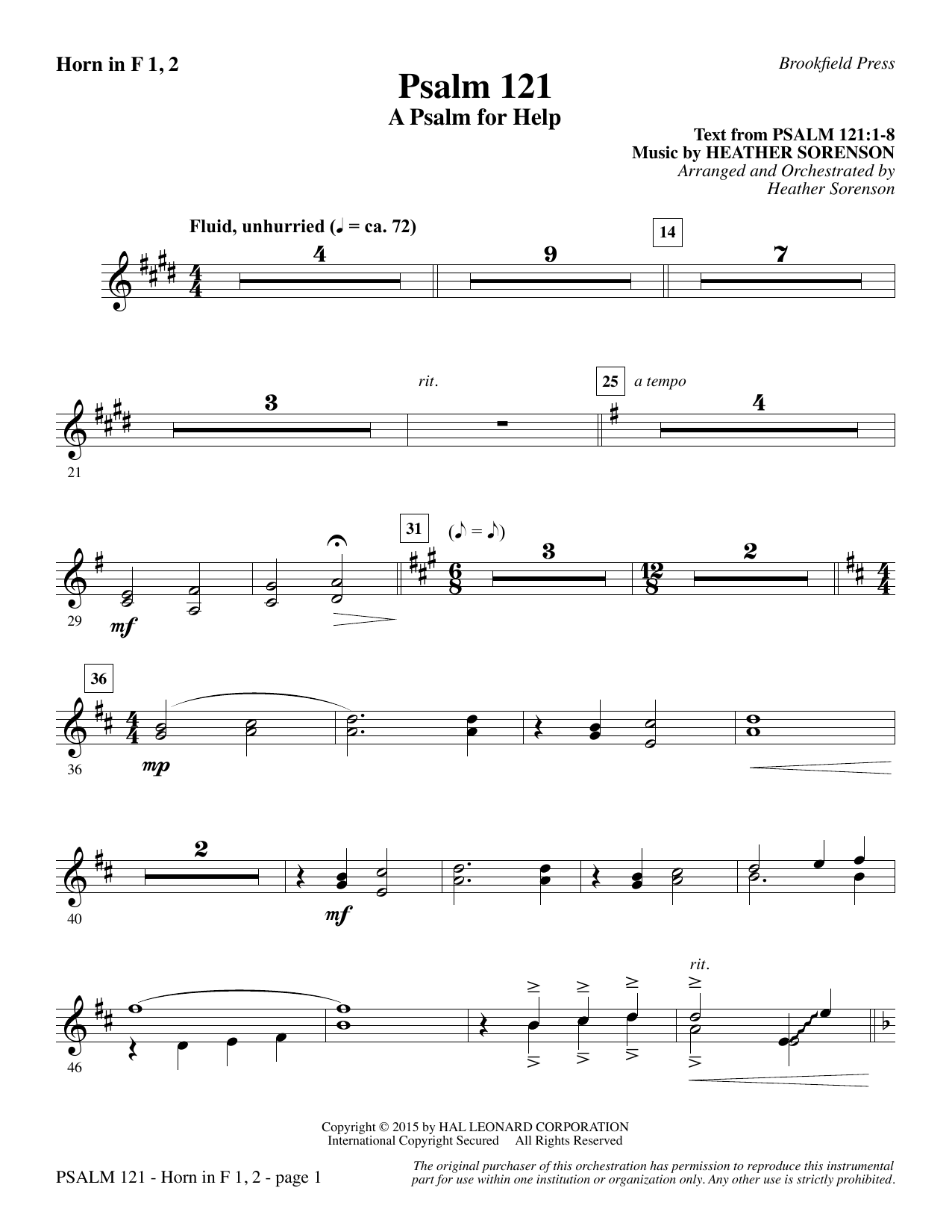 Psalm 121 (A Psalm For Help) - F Horn 1 & 2 (Choir Instrumental Pak)
