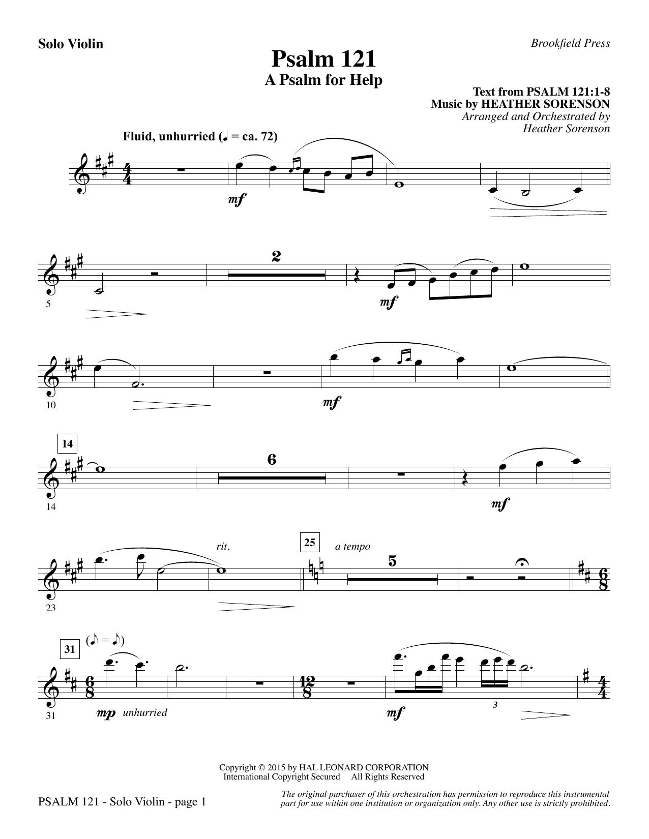 Psalm 121 (A Psalm For Help) - Solo Violin (Choir Instrumental Pak)