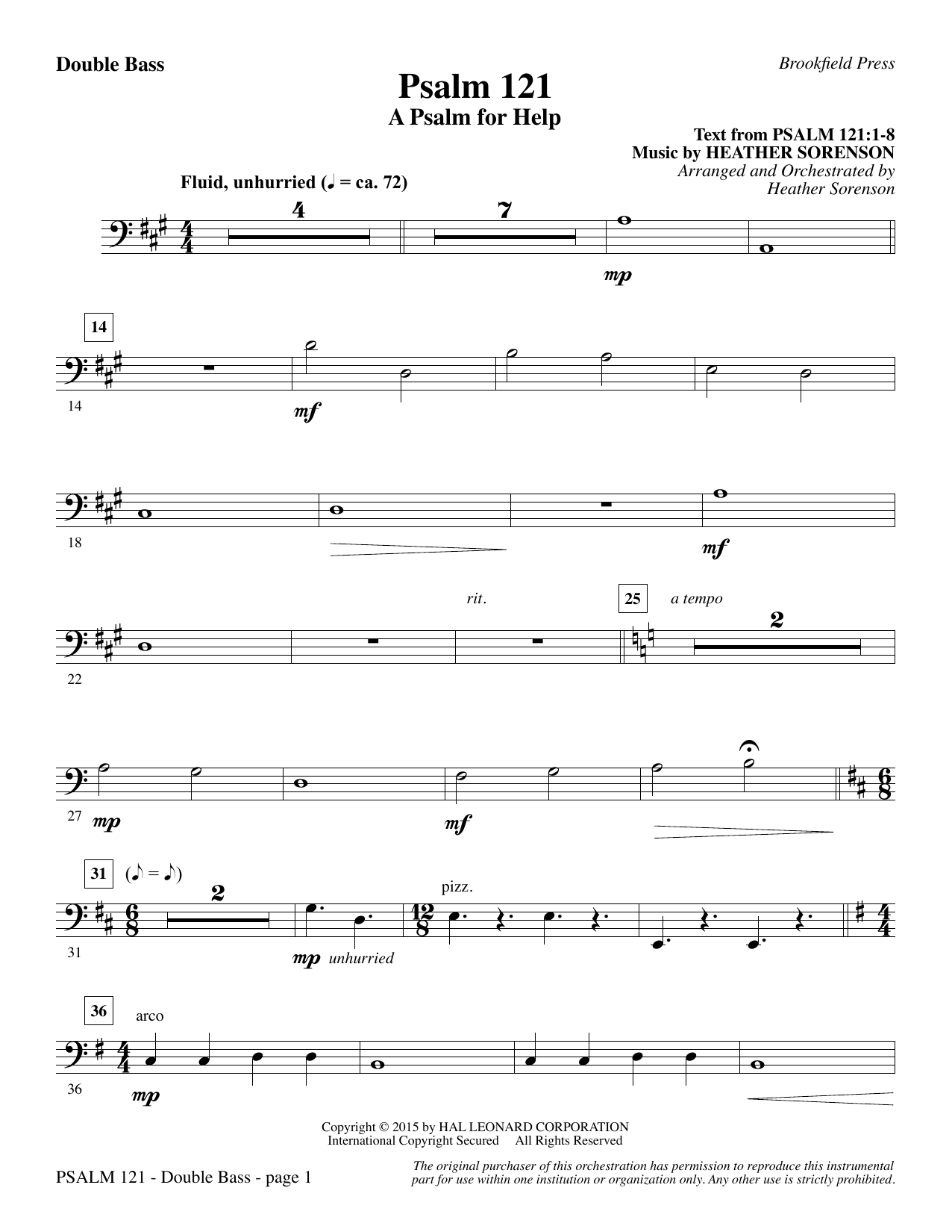 Psalm 121 (A Psalm For Help) - Double Bass (Choir Instrumental Pak)