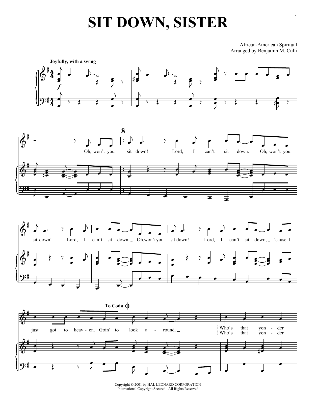 Partition piano Sit Down, Sister de African-American Spiritual - Piano Voix