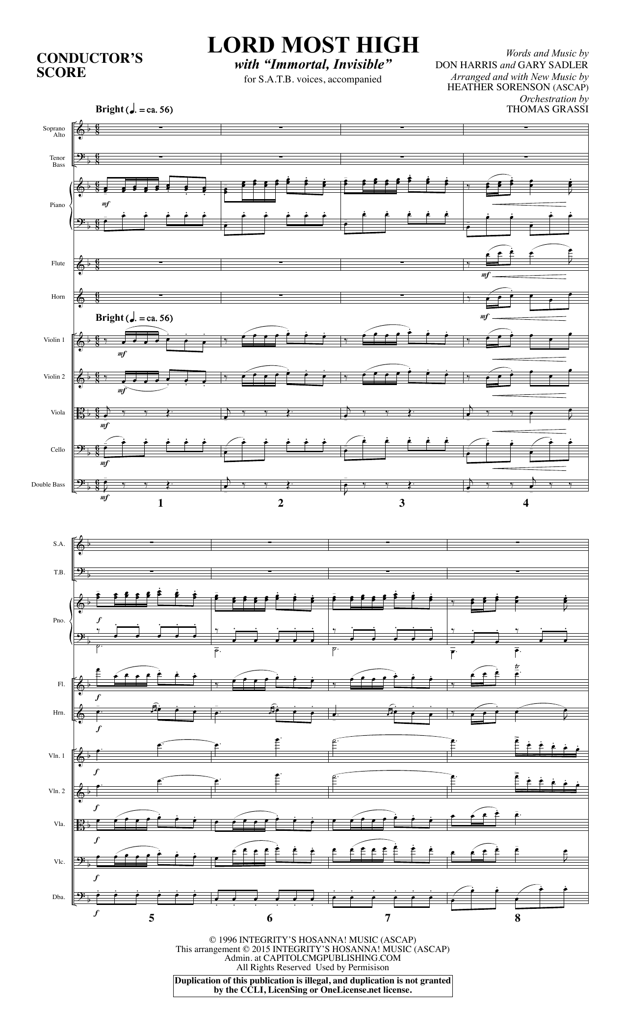 Lord Most High (COMPLETE) sheet music for orchestra/band by Heather Sorenson, Miscellaneous and Walter Chalmers Smith. Score Image Preview.