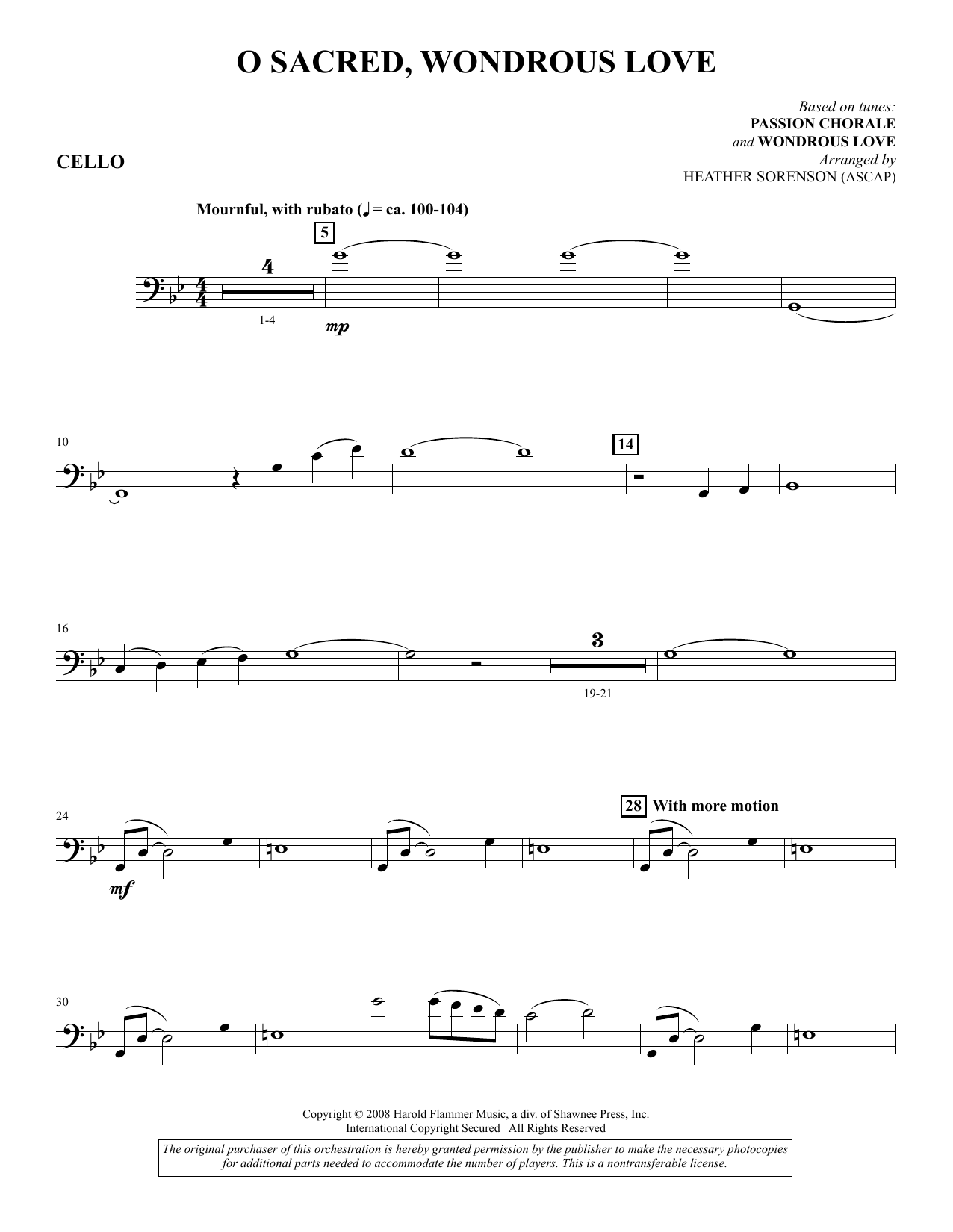 O Sacred, Wondrous Love - Cello (Choir Instrumental Pak)