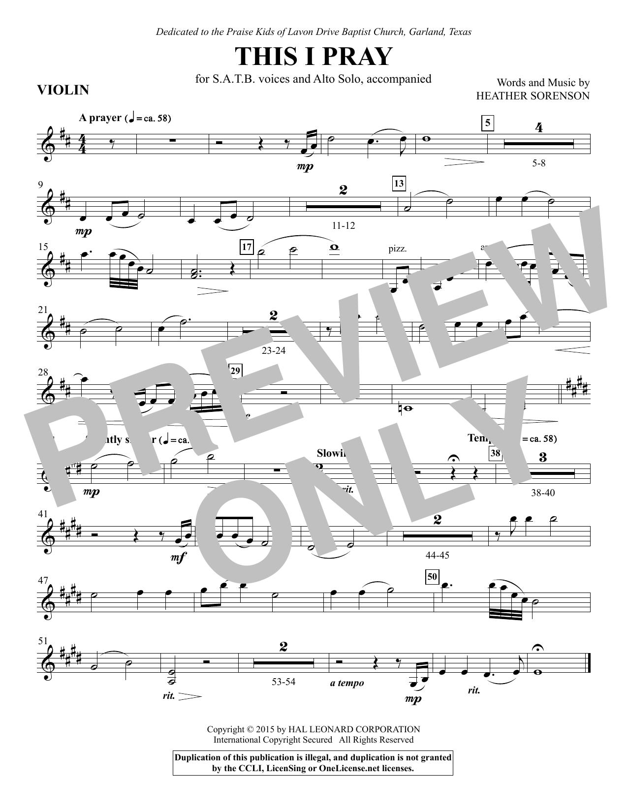 This I Pray - Violin 1 (Choir Instrumental Pak)