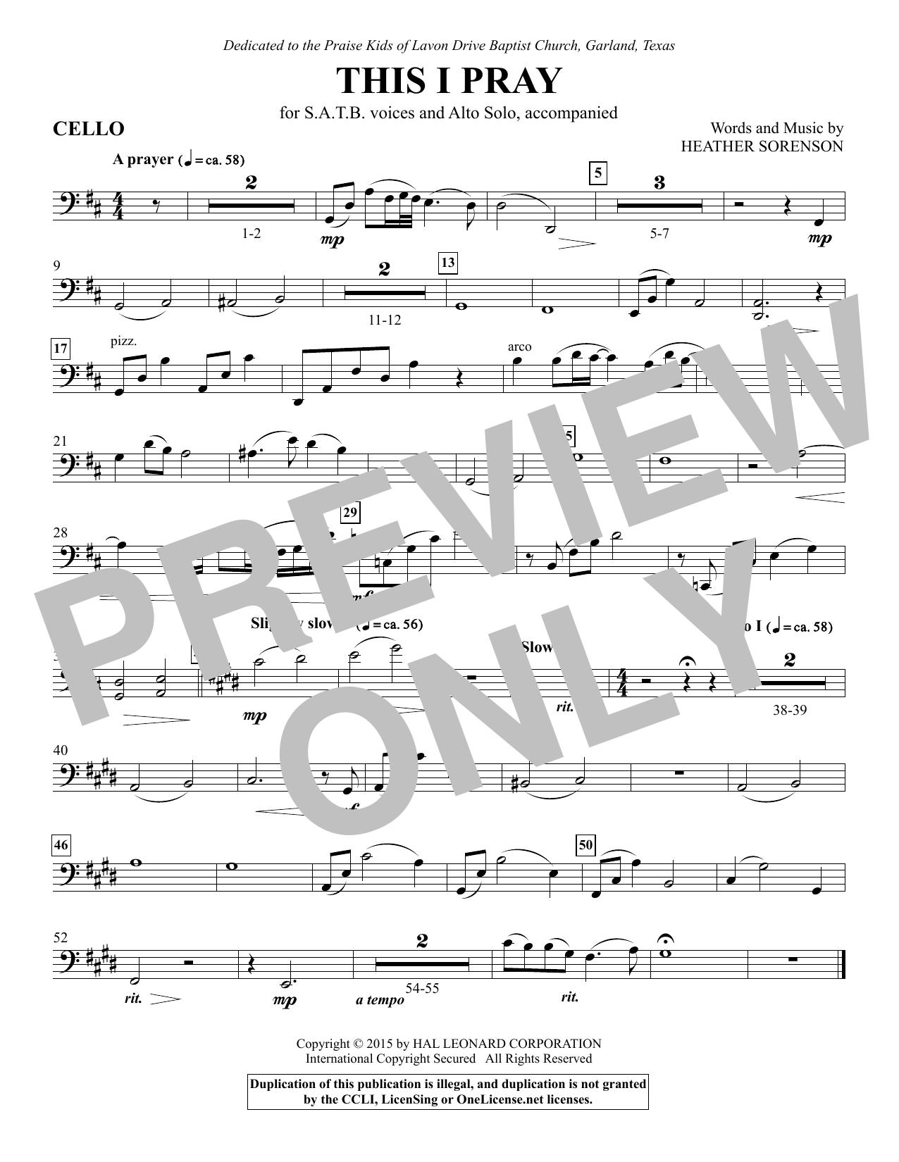 This I Pray - Cello (Choir Instrumental Pak)