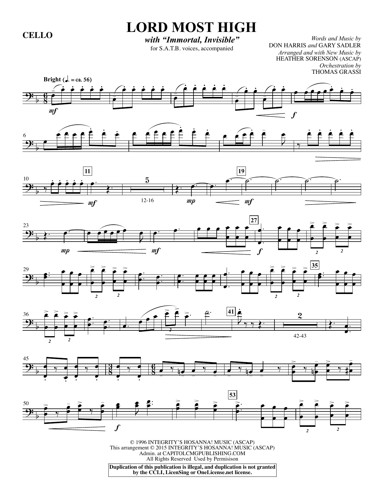 Lord Most High - Cello (Choir Instrumental Pak)